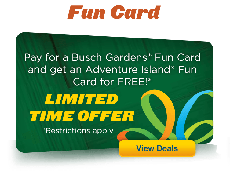 Unlimited fun with a Busch Gardens Fun Card, or upgrade to an Annual Pass. Get more out of your park time when you purchase a Fun Card. You'll pay one low price for your card to get unlimited visits to the Busch Gardens park of your choice.